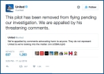 United Airlines re: Michael Folk: The pilot has been removed from flying pending our investigation. We are appalled by his threatening comments.