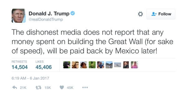 """Squirrelhead Donald: """"The dishonest media does not report that any money spent on building the Great Wall (for sake of speed), will be paid back by Mexico later!"""""""